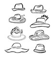 summer hats caps outlined template set vector image vector image
