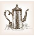 Tea pot vintage hand drawn sketch style vector image vector image