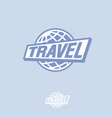 travel logo blue globe and letters vector image vector image