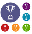 trophy cup icons set vector image vector image