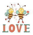 Valentines day card with bees in love vector image