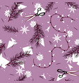 winter festive pattern with spruce branches and vector image