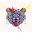 Zentangle stylized violet Bear face in triangle vector image