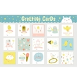 Cute square cards vector image