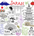 Japan doodles elements Hand drawn set with vector image