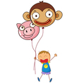 A boy holding two character balloons vector image