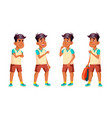 arab muslim boy schoolboy kid poses set vector image vector image