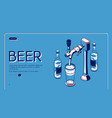 beer tap isometric landing page alcohol drink vector image