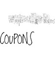 benefits of coupons text word cloud concept vector image vector image