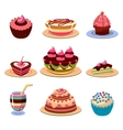 Bright Cakes and Dessert Icons Set vector image vector image
