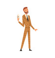 businessman holding face mask man changing his vector image vector image