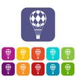 checkered air balloon icons set flat vector image vector image
