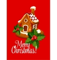 Christmas card with gingerbread house vector image vector image