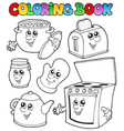 coloring book with kitchen cartoons vector image
