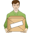 courier holds box vector image vector image