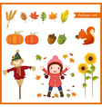 Cute girl and collection for autumn vector image vector image