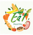 eat healthy fruit vegetable circle white backgroun vector image vector image