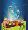 fairies flying over the log house vector image vector image