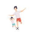 father and son playing soccer dad and his kid vector image vector image