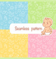 four seamless patterns baby objects vector image