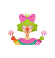 Funny female circus clown holding lollipops vector image