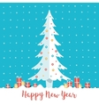 happy new year christmas tree and present boxes vector image