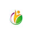 happy people vegetarian green leaf logo vector image vector image