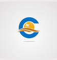 letter c beach logo concept icon element and vector image