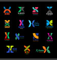 letter x travel shop and sport corporate icons vector image vector image