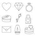 line art black and white 9 valentine elements vector image