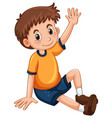 little boy having arm up for question vector image vector image