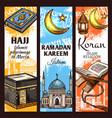 muslim mosque ramadan lantern and islamic koran vector image vector image