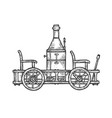 old steam car transport sketch engraving vector image vector image