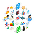 online learning icons set isometric style vector image vector image