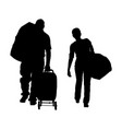 Passenger couple with luggage bags silhouette