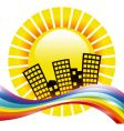 rainbow cityscape vector image vector image