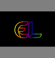 rainbow color colored colorful alphabet letter el vector image vector image