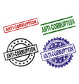 scratched textured anti-corruption seal stamps vector image vector image