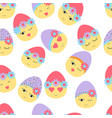 seamless pattern with easter decorated eggs happy vector image