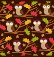 seamless pattern with owl on branch vector image vector image