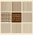 set hand drawn seamless patterns vector image vector image