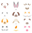 set masks cute cartoon animals vector image vector image