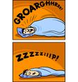snoring man cartoon comic vector image