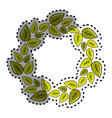 sticker green round eco leaves vector image vector image