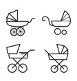 stroller icons isolated on a white background vector image vector image