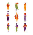 stylish people set men and women dressed in vector image