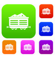 train waggon with coal set collection vector image vector image