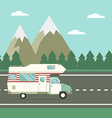Traveler Truck on the Road on Countryside vector image vector image
