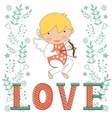 Valentines day card with little amour vector image