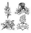 vintage monochrome tattoos vector image vector image